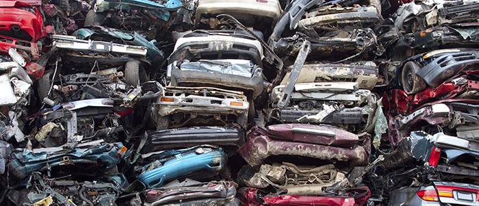 Car piles crushed