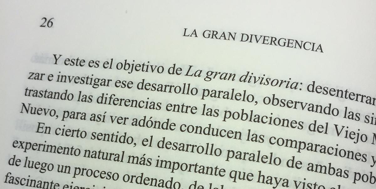 Fotografía de la página 26 de 'La Gran Divergencia', Ed. Crítica.